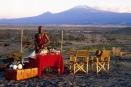Tortilis Camp's sundowner at the foot of Mount Kilimanjaro